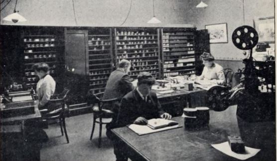 Inside the offices of the Charles Urban Trading Company at 48 Rupert Street, London