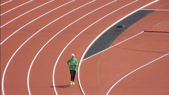 Sarah Attar of Saudi Arabia in the women's 800m heats