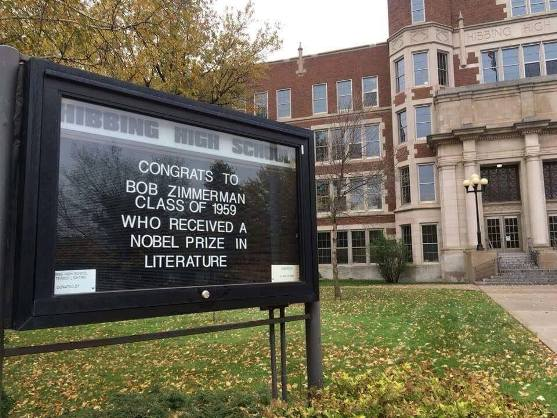 Dylan's Hibbing high school offers its congratulations, via