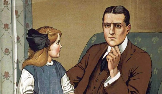 Top half of Savile Lumley's poster for the Parliamentary Recruiting Committee, 'Daddy, what did YOU do in the Great War?'