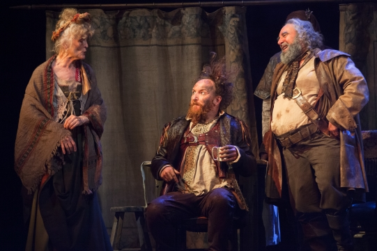 Paola Dionisotti as Mistress Quickly, Antony Byrne as Pistol and Antony Sher as Falstaff in Henry IV Part 2, via rsc.org.uk