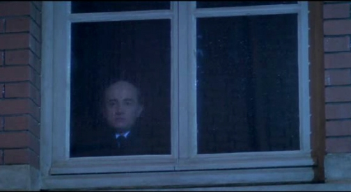 Monsieur Hire, the point where Michel Blanc's character is revealed from behind his window thanks to a lightning flash