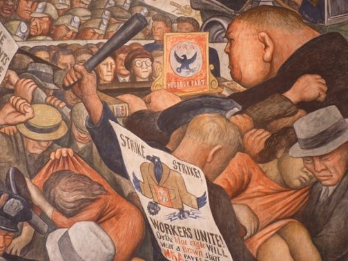 Detail from Diego Rivera's 'New Deal'