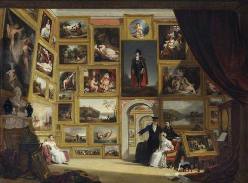 A Modern Picture Gallery (1824) by William Frederick Witherington, from Wimpole Hall, Royston, via Your Paintings