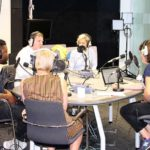 Recording the Future of Radio podcast. L/R Femi Adeyemi, Matt Deegan, Helen Boaden, Miranda Sawyer, Ruth Barnes.. Photo by Paul Wilson.