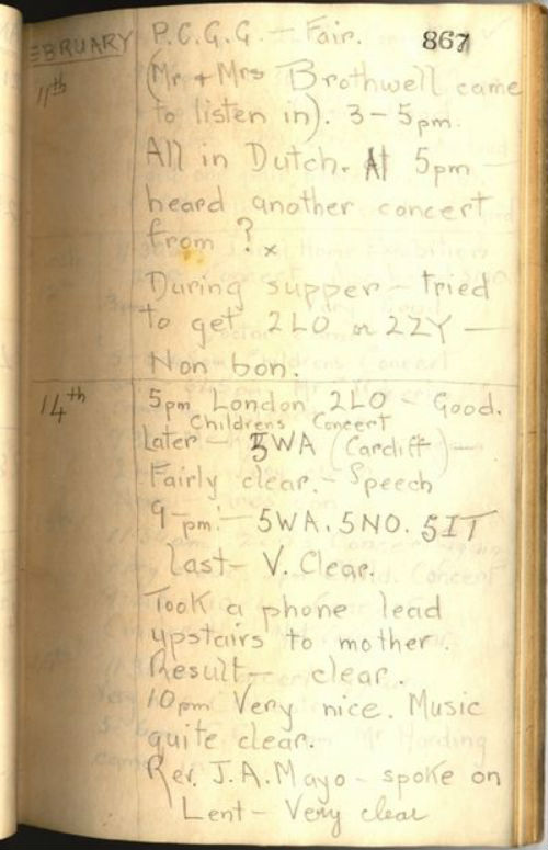 Alfred Taylor's Wireless Log for 11th-14th February 1923