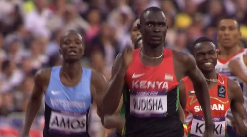 David Rudisha of Kenya winning the Men's 800m final at the London Olympic Games (frame grab from BBC coverage)