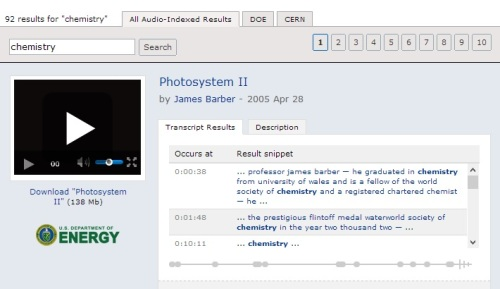 Searching for the word 'chemistry' using ScienceCinema, which employs Microsoft's MAVIS technology
