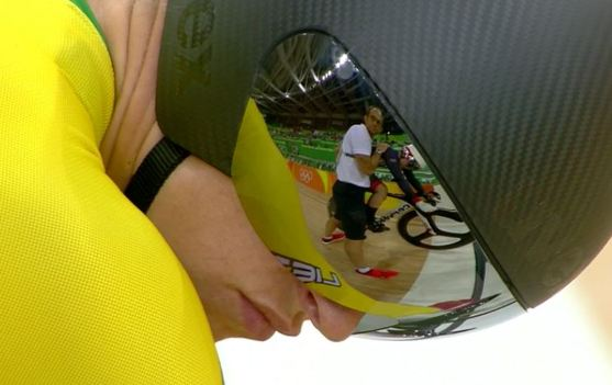 Cyclist Simona Krupeckaite (Lithuania), with Katy Marchant (GB) reflected in her visor