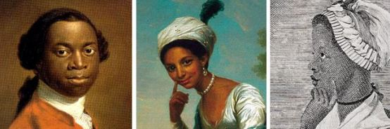 (L-R) Olaudah Equiano, Dido Elizabeth Belle and Phyllis Wheatley