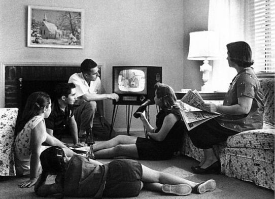 An American family watching television c.1958, via Wikimedia Commons
