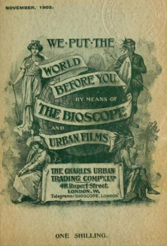 Front cover of Urban's 1903 catalogue, 'We Put the World Before You'