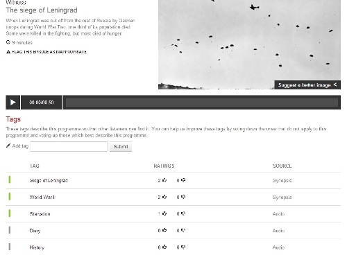 BBC World Service Radio Archive prototpye, showing record for a programme on the siege of Leninegrad, with tags created from the synopsis and automatically via the audio track