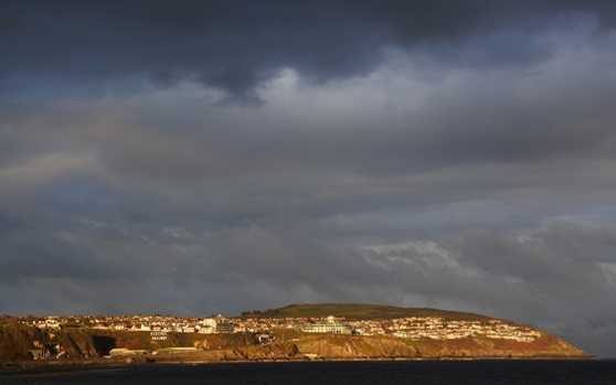 Douglas and Onchan (to the right) catching the late afternoon sun
