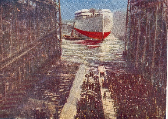 Launch of the S.S. Olympic (1910), the sister ship of the Titanic