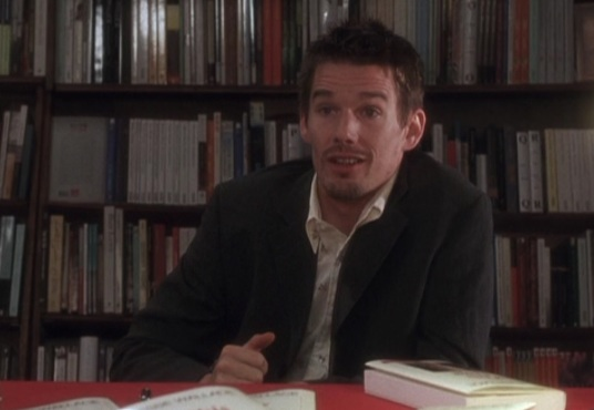 Ethan Hawke answering questions in Shakespeare and Company bookshop, in Before Sunset