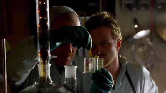 Walter White and Jesse Pinkman (Aaron Paul), cooking