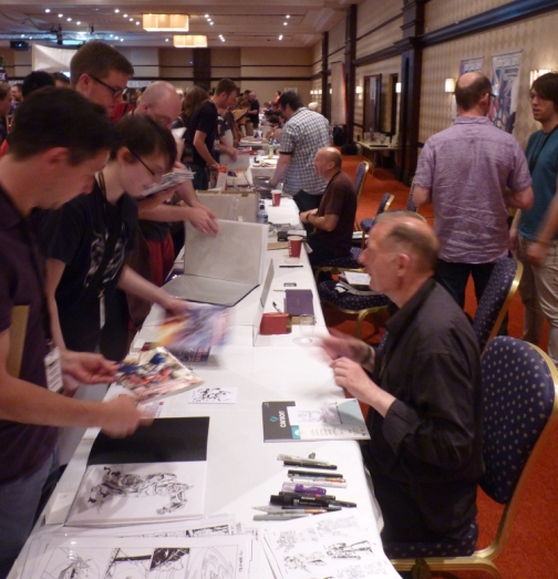 The comic artists meet the fans