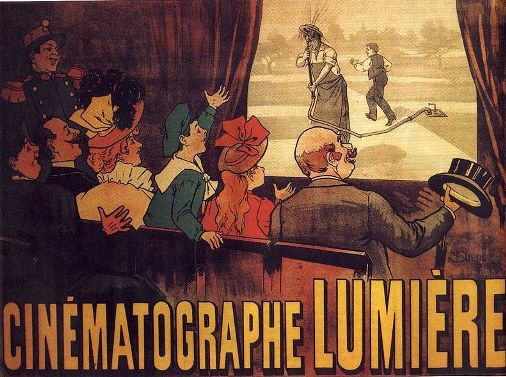 Poster from 1896 advertising the Cinématographe Lumière, with the heterogeneous audience watching L'Arroseur Arrosé