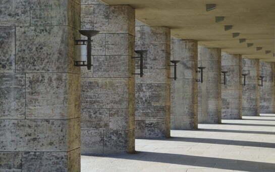 Colonnade around the stadium perimeter