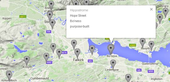 Map of early Scottish cinemas, from http://earlycinema.gla.ac.uk