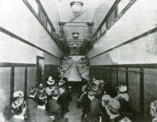 Audience viewing a 'phantom ride' film from inside a Hale's Tour 'carriage' c.1906