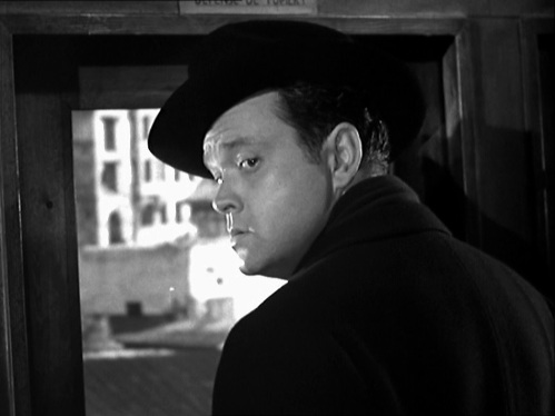 Harry Lime (Orson Welles) in the Ferris wheel cab at the point where Martins reminds him that he used to believe in God