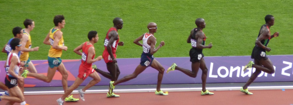 Mo Farah (third from right) in the 5,000m heats at the London Olympic Games