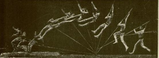 Pole vaulter captured on a single photographic plate, from Marey's book Le Mouvement (1894)