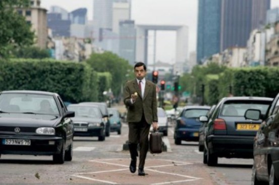 Proceeding in a straight line, from Mr Bean's Holiday