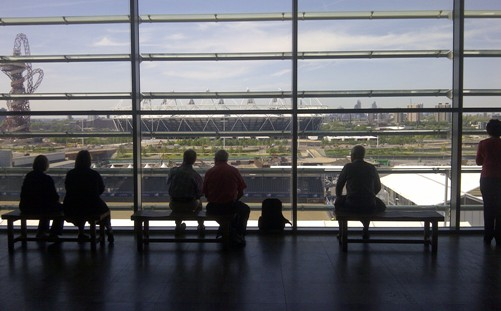 Looking at the Olympic venues from the John Lewis viewing area