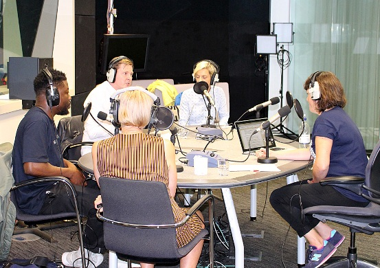 Recording the Future of Radio podcast. L/R Femi Adeyemi, Matt Deegan, Helen Boaden, Miranda Sawyer, Ruth Barnes. Photo by Paul Wilson.