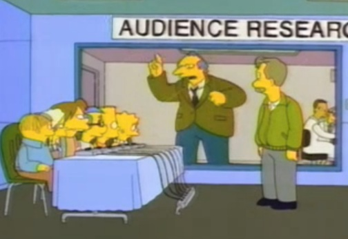 An irate audience researcher reveals himself behind the two-way mirror, in The Simpsons episode The Itchy & Scratchy & Poochie Show