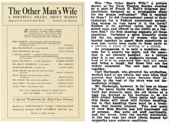 The Other Man's Wife (USA 1919), with its feminist theme, looks to be among the most interesting films scripted by Mary Murillo, but sadly it is a lost film. The advertisement is from Moving Picture World; the angry review is from Variety