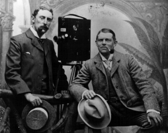 Charles Urban (right) with his cameraman brother-in-law Jack Avery